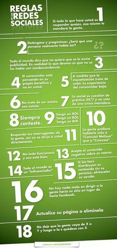 Reglas de las Redes Sociales #infografia en español.