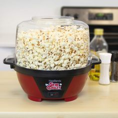 West Bend 82505 Stir Crazy Electric Hot Oil Popcorn Popper Machine with Stirring Rod Offers Large Lid for Serving Bowl and Convenient Storage, Red Best Popcorn Maker, Best Microwave Popcorn, Popcorn Cart, West Bend Stir Crazy, Stir Crazy Popcorn, Small Kitchen Appliances, Red Kitchen, Kitchen Utensils, Kitchen Dining