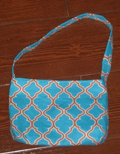 Turquoise and burnt orange lattice toddler purse - pinned by pin4etsy.com