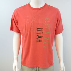 Gildan Men's Size XL Coral Salt Lake Utah Graphic Short Sleeve T-Shirt  M284 #Gildan #GraphicTee