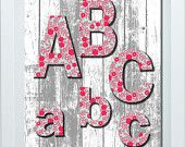 Wall Art For Nursery, Bathroom Decor, Home Decor by FMDesignStudio Abc Wall, Wall Art, Bedroom Wall, Girls Bedroom, Aqua Decor, Abc Poster, Girl Nursery, Baby Shower Gifts, Etsy Seller