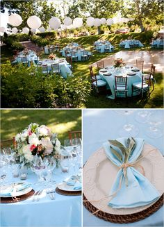 See what I mean about tablecloth color? Gorgeous. I especially love that it matches the napkins, and the little sprig of green tied onto it,