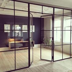 Black steel windows and doors room dividers - Steel Windows and Doors Loft Door, Steel Doors And Windows, Room Divider Doors, Glass Room Divider, Room Dividers, Casa Patio, Glass Partition, Window Wall, Office Interiors