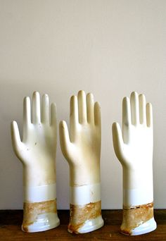 glove mold  vintage porcelain  one by LegalMissSunshine on Etsy, $36.00 To put my mittens & gloves on.