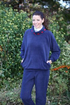 Fellside Fleece Top in navy/red spot trim, available in 5 Colours - Patricia Dawson