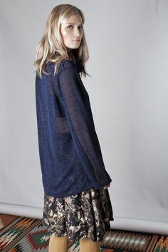 Dark blue glossy light knitted sweater , XL collar from jenfashion by DaWanda.com
