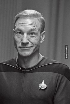 I give you Captain Picard with hair, which is perhaps the most bizarre picture of Patrick Stewart I have ever seen...