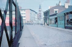 c.1950-1960Colour photographic transparency showing Beecham's Pills Co. Ltd. factory and clock tower from Water Street, St.Helens.MFZ/153 - Fazackerley Collection