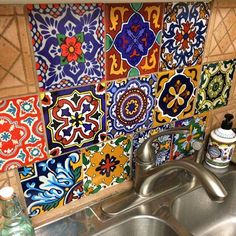 Kitchen and bathroom backsplash tile, wall floor decoration Bathroom Floor Tiles, Wall Tiles, Backsplash Tile, Tile Floor, Mexican Colors, Mexican Style, Tile Decals, Vinyl Decals, Flooring For Stairs