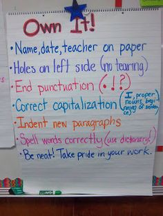 """Own it"" Anchor Chart: My Life as a Third Grade Teacher"