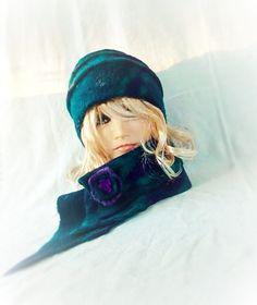 Turquoise Sea green Violet Felted Hat Felt wearable art