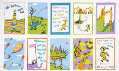 Oh The Places You'll Go - Dr.Seuss  - Quilt Panel Pastel ADE-13087-263 RAINBOW on Etsy, $6.95