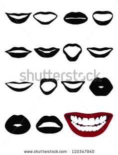 Set of silhouettes lips-vector by KatarinaF, via ShutterStock