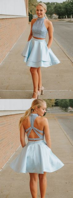 Sweet Light Blue Two Pieces Homecoming Dresses,A-Line Halter Party Dress,Short Graduation Dresses · SofieDress · Online Store Powered by Storenvy Grade 8 Grad Dresses, Short Graduation Dresses, Burgundy Homecoming Dresses, Two Piece Homecoming Dress, Cheap Homecoming Dresses, Dresses Short, Hoco Dresses, Sexy Dresses, Party Dresses
