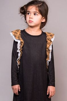 Joah Love Dress for Girls in Denim and Plaid PREORDER