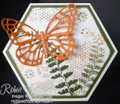 Stampin' Up! ... hand crafted card from RobinsCraftRoom.com  ... hexagon shaped ... Butterfly Basics ... collage style stamping with die cut butterfly ... luv it!