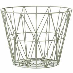 Ferm Living Mand dusty groen ijzer 3 maten 40x35cm,50x40cm,60x45cm wire basket - wonenmetlef.nl