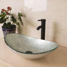 Modern Oval Artistic Glass Vessel Sink W/Oil Rubbed Bronze Faucet Combo #WALCUT
