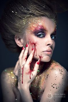 Marian Wodzisz Photography #fantasy makeup #glitter Dorota Makeup