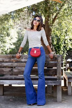 Striped Top with Flared Jeans