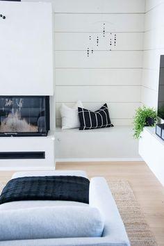 talo markki - scandinavian livingroom interior - log home - marimekko