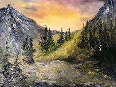 Bob Ross Style Painting, Oil on Stretched Canvas Bob Ross Paintings, Landscape Artwork, Fantasy Paintings, Canvas Artwork, Stretched Canvas, Beautiful Landscapes, Scenery, Oil, Abstract