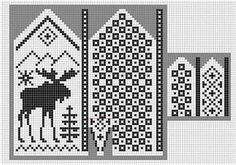 Norwegian pattern: Mittens moose knit chart More Knitting Charts, Knitting Stitches, Knitting Designs, Knitting Projects, Knitting Patterns, Crochet Patterns, Free Knitting, Knitted Mittens Pattern, Knit Mittens
