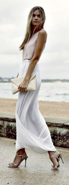 White: long white skirt, simple sandals, beige purse