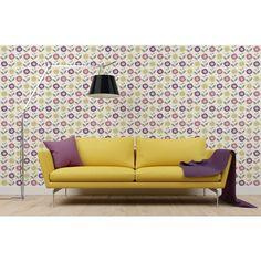 Bold Bright Colourful Statement Pattern Wallpaper | COLOROLL HELSINKI GEOMETRIC WALLPAPER IN PINK/YELLOW | Buy Online