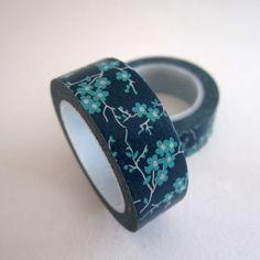 masking tape fleurs de cerisiers / bleu