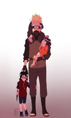 Anime [Naruto] Kakashi Hatake with Narutos and hinatas kids and sasuke and sakuras daughter Naruto And Sasuke, Anime Naruto, Naruto Team 7, Naruto Family, M Anime, Naruto Comic, Naruto Cute, Naruto Shippuden Sasuke, Sakura And Sasuke
