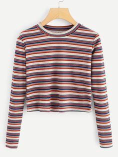 Casual Striped Regular Fit Round Neck Long Sleeve Pullovers Multicolor Crop Length Striped Knit Crop Tee