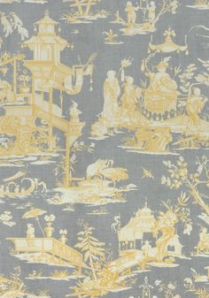 CHENG TOILE, Yellow and Grey, F975470, Collection Dynasty from Thibaut