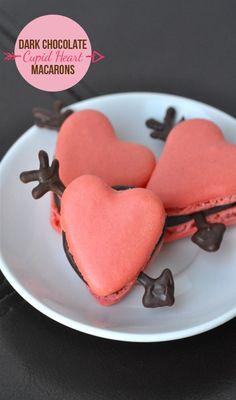 Dark Chocolate Cupid Heart Macarons FoodBlogs.com