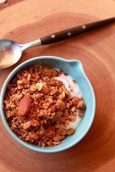 Homemade Granola - need - rolled oats - raw almonds - pumpkin seeds - raw sunflower seeds - coconut oil - natural peanut butter - honey