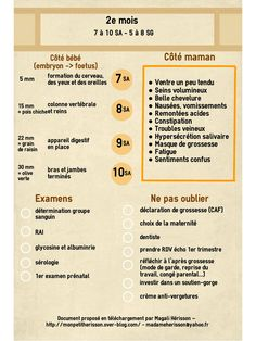 Fiche pratique du mois de grossesse : côté bébé, côté maman, les examen… Practical leaflet from the month of pregnancy: baby page, mother page, exams and to-do lists to remember! To insert in your diary or pregnancy diary! Pregnancy Diary, Pregnancy Months, Baby On The Way, Baby Love, Feeling Nauseous, Pregnant Wedding, Postpartum Depression, Birth Certificate, After Baby