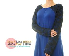 Black Lace Floral Front Zip Long Sleeves Royal Blue Jersey Modest Abaya Maxi Dress - Size M/L (6149) FREE SHIPPING! by Tailored2Modesty on Etsy