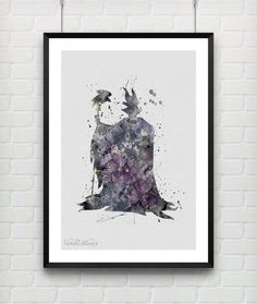 Maleficent Disney Watercolor Art Print, Disney Watercolor Poster, Baby Nursery, Kids Decor, Wall Art, Not Framed, Buy 2 Get 1 Free! [No. 65]