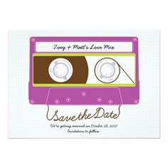 Our latest Save the Date invitation set for the creative brides and grooms out there has an old school theme: the mixtape! Indie Mixtape Wedding (Purple/Lime) Save the Date The back of the invit Whimsical Wedding Invitations, Save The Date Invitations, Personalized Invitations, Save The Date Cards, Hipster Wedding, Wedding Humor, Wedding Cards, Wedding Bells, Mixtape