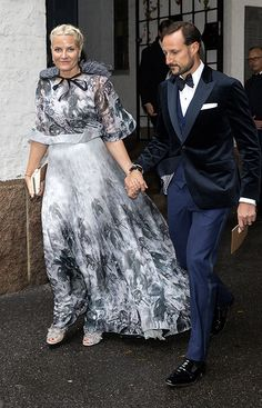 Hello!-Crown Princess Mette-Marit, in Valentino, and Crown Prince Haakon attended the wedding of Haakon's cousin Carl Christian Ferner, youngest son of Princess Astrid and Johan Martin Ferner, and Anna-Stince Slattum, Oslo, October 4, 2014