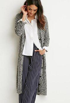 Marled Knit Midi Cardigan | Forever 21 - 2000141481