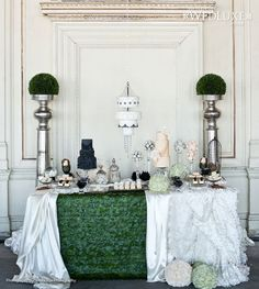 Love the Galax leaf tablecloth! Party Buffet, Dessert Buffet, Dessert Tables, Cake Table, Sweet Table Wedding, Wedding Cakes, Green Bridal Showers, Chandelier Cake, Dessert Table Backdrop