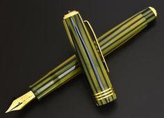 Tibaldi Modello 60 Fountain Pen - Ivory green and blue striated celluloid
