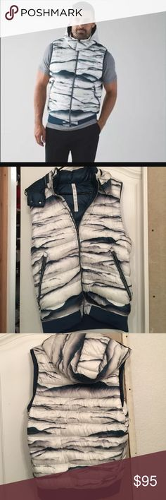 Lululemon Men's Get and Down filled Vest Excellent condition. Used once. Size Large. It's men's size but can also worn by women. Keeps you warm this winter season. It has a removable zippered hoodie. color white and teal/blue. lululemon athletica Jackets & Coats Vests
