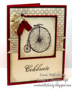 """SU Card by Christy Fulk.  Stamps:  Feeling Sentimental Collage Curios (tower/rose). Ink:  Early Espresso  Cardstock  Cherry Cobbler, Early Espresso, Very Vanilla; First Edition Specialty DSP. Accessories: Square Lattice E-Folder, Jewelry Tag Punch, 1"""" Square Punch, Vintage Trinkets, Natural 7/16"""" Trim Ribbon, Sponge, Glue Dots, Snail Adhesive."""