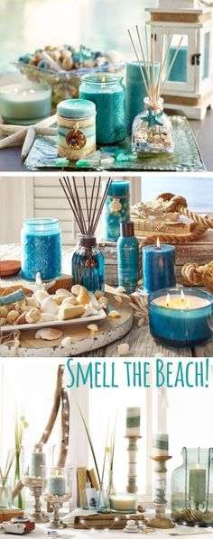 Smell the Beach with Scented Oils, Candles, Diffusers & more - kerzen Candle Scent Oil, Oil Candles, Beach Cottage Style, Beach House Decor, Home Decor, Coastal Decor, Coastal Style, Coastal Living, Beach Cottages