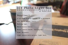 DIY Photo Light Box // Take Better Photos! | Ninth and Bird - great photos and easy to follow instructions, my picts for amazon turned out great.