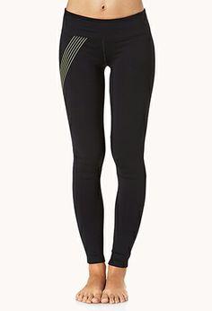 Neon Stripe Skinny Workout Leggings | FOREVER 21 - 2042817169