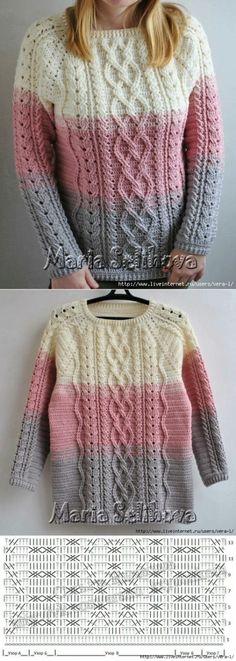 Пуловер с аранами крючком