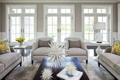 Martha O'Hara Interiors: Beautiful open living space with greige walls paint color, French doors & transom ...